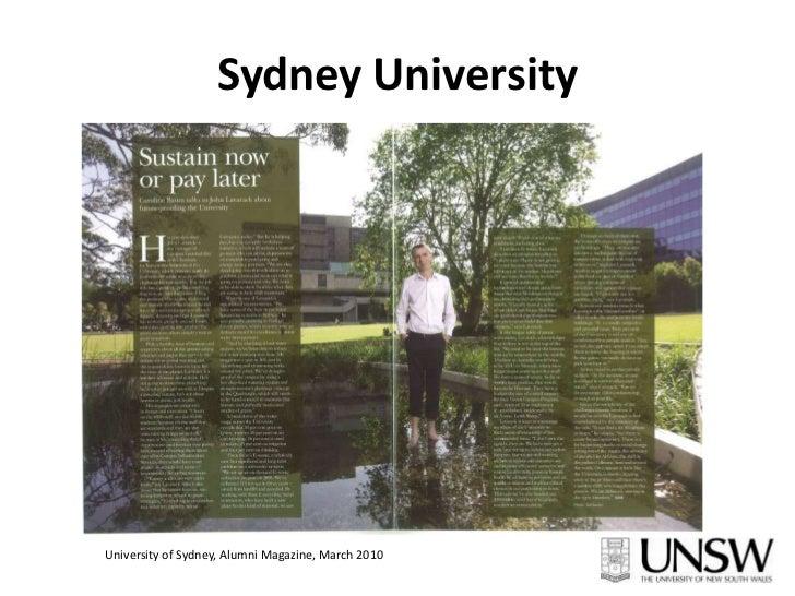 Sydney University<br />University of Sydney, Alumni Magazine, March 2010<br />