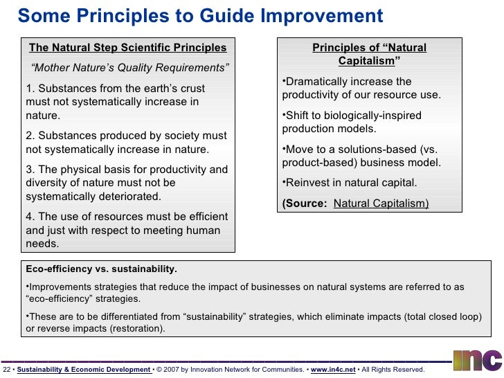 """Some Principles to Guide Improvement The Natural Step Scientific Principles """" Mother Nature's Quality Requirements"""" 1. Sub..."""