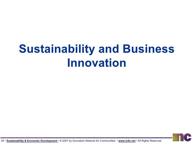 Sustainability and Business Innovation