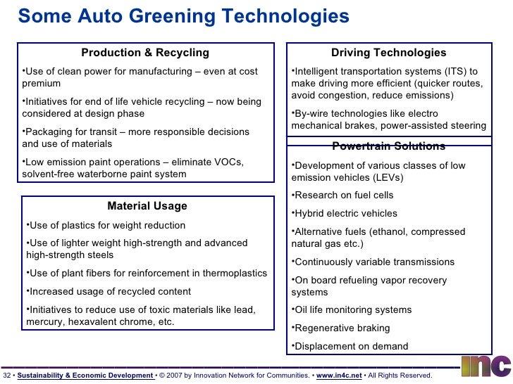 Some Auto Greening Technologies <ul><li>Production & Recycling </li></ul><ul><li>Use of clean power for manufacturing – ev...