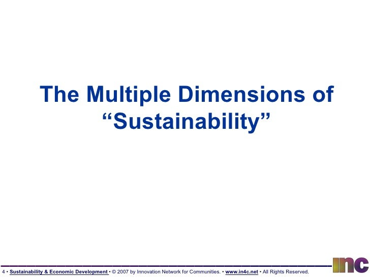"""The Multiple Dimensions of """"Sustainability"""""""
