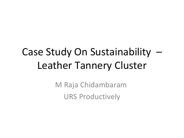 Case Study On Sustainability – Leather Tannery Cluster M Raja Chidambaram URS Productively
