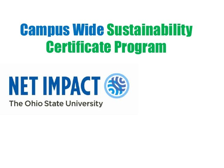 Campus Wide Sustainability   Certificate Program