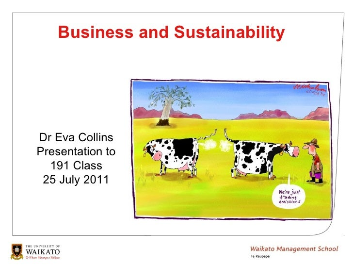 Business and SustainabilityDr Eva CollinsPresentation to  191 Class 25 July 2011