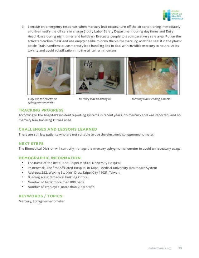 noharm-asia.org 19 3. Exercise on emergency response: when mercury leak occurs, turn off the air conditioning immediately a...