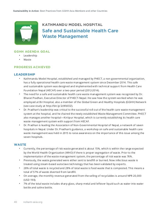 Sustainability in Action: Best Practices from GGHH Asia Members and other Countries 40 noharm-asia.org GGHH AGENDA GOAL • ...