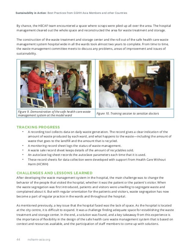 Sustainability in Action: Best Practices from GGHH Asia Members and other Countries 44 noharm-asia.org By chance, the HECA...