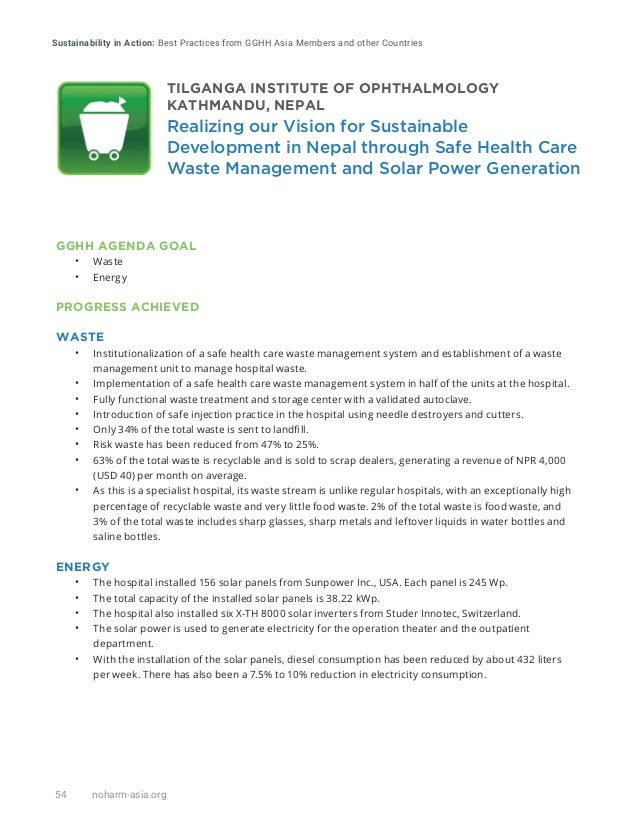 Sustainability in Action: Best Practices from GGHH Asia Members and other Countries 54 noharm-asia.org GGHH AGENDA GOAL • ...