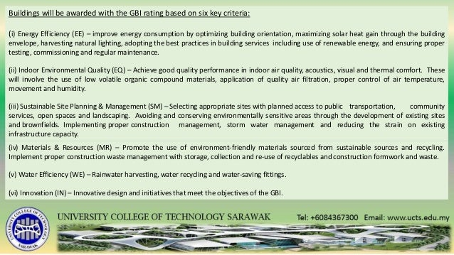 Sustainability in built environment green building index for Green building features checklist