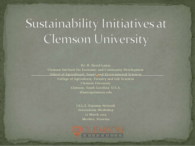 Dr. R. David LamieClemson Institute for Economic and Community Development School of Agricultural, Forest, and Environment...