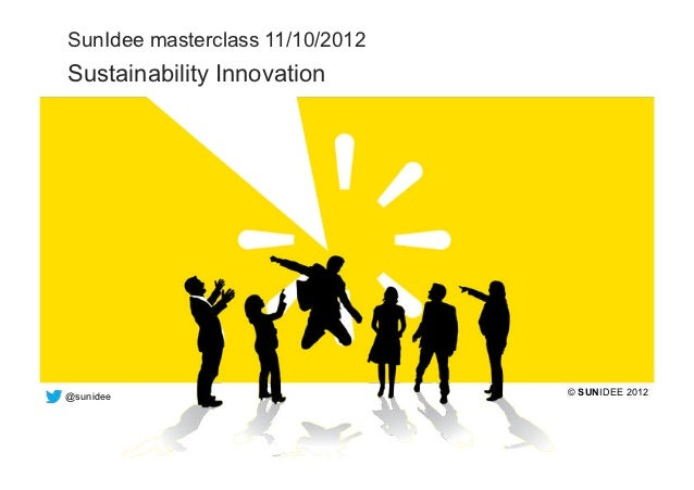 SunIdee masterclass 11/10/2012  Sustainability Innovation  @sunidee                         © SUNIDEE 2012the bright way t...