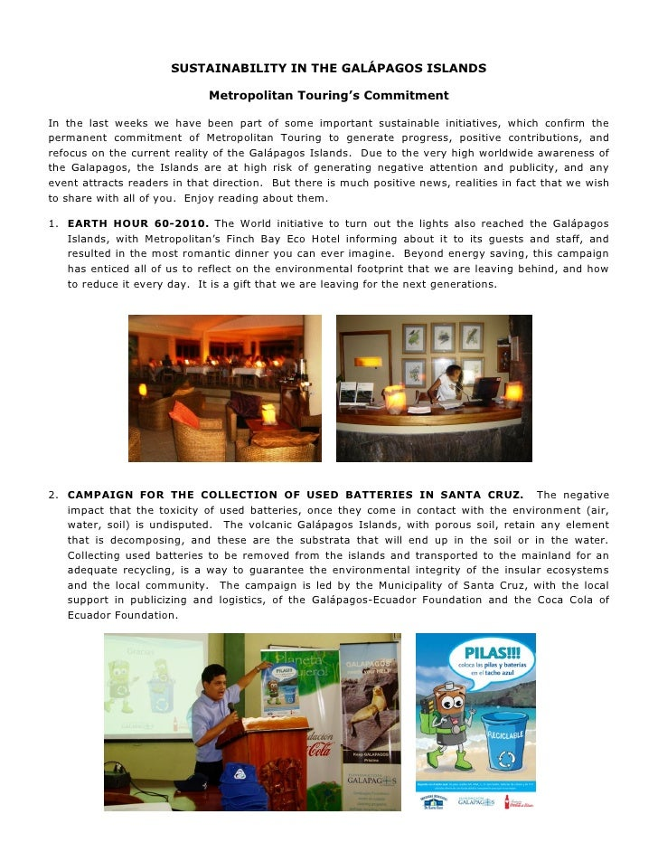 SUSTAINABILITY IN THE GALÁPAGOS ISLANDS                                Metropolitan Touring's Commitment  In the last week...