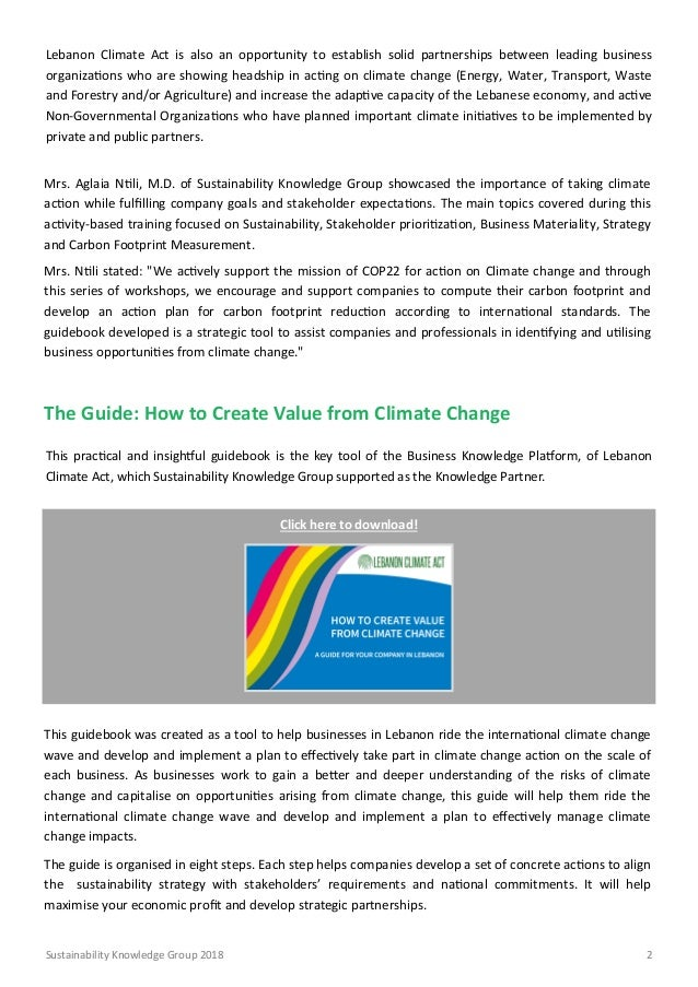 Creating business opportunities from Climate Change