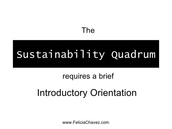 Sustainability Quadrum Introductory Orientation The requires a brief www.FeliciaChavez.com