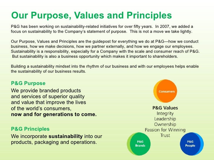 Our Purpose, Values and Principles <ul><li>P&G Purpose </li></ul><ul><li>We provide branded products  and services of supe...