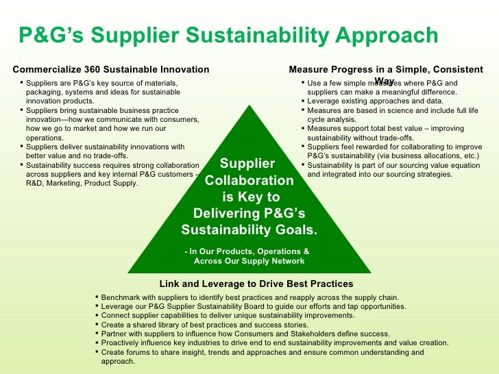 P&G's Supplier Sustainability Approach <ul><li>Benchmark with suppliers to identify best practices and reapply across the ...
