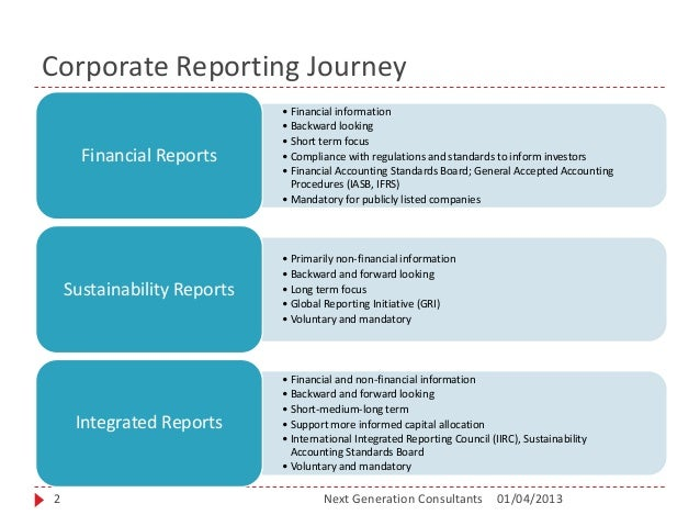 sustainability and integrated reporting Sustainability and sustainability reporting is becoming an increasingly popular trend globally especially after the global financial crisis (gfc) stakeholders are requesting more honest, and faithful representation of information released by entities not only does it allow for stakeholders, and.