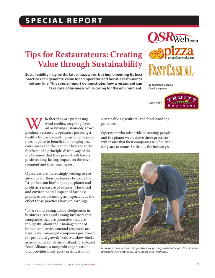 SPECIAL REPORT   Tips for Restaurateurs: Creating                                                                      By ...