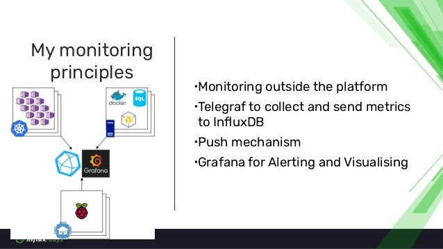 ∙Monitoring outside the platform ∙Telegraf to collect and send metrics to InfluxDB ∙Push mechanism ∙Grafana for Alerting an...