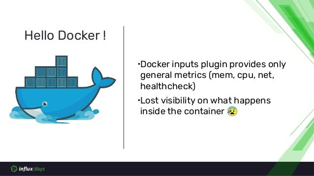 ∙Docker inputs plugin provides only general metrics (mem, cpu, net, healthcheck) ∙Lost visibility on what happens inside t...