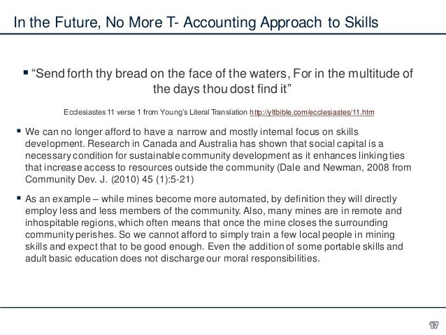 """In the Future, No More T- Accounting Approach to Skills  """"Send forth thy bread on the face of the waters, For in the mult..."""