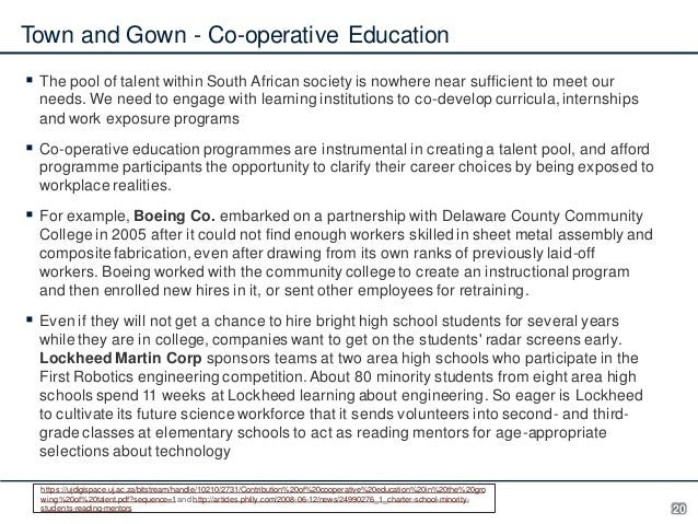 Town and Gown - Co-operative Education  The pool of talent within South African society is nowhere near sufficient to mee...