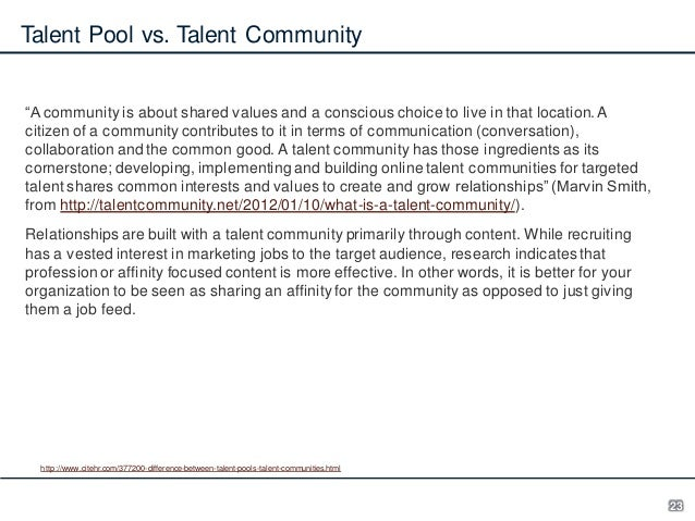 """Talent Pool vs. Talent Community """"A community is about shared values and a conscious choice to live in that location. A ci..."""