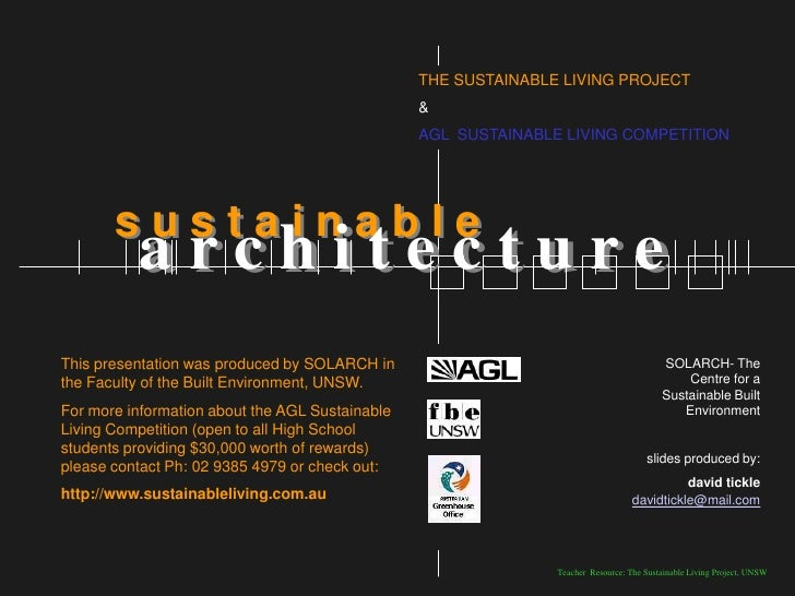 THE SUSTAINABLE LIVING PROJECT                                                  &                                         ...