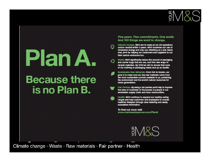 marks spencer plan a Mike barry director of sustainable business (plan a) at marks and spencer location london, united kingdom industry retail.