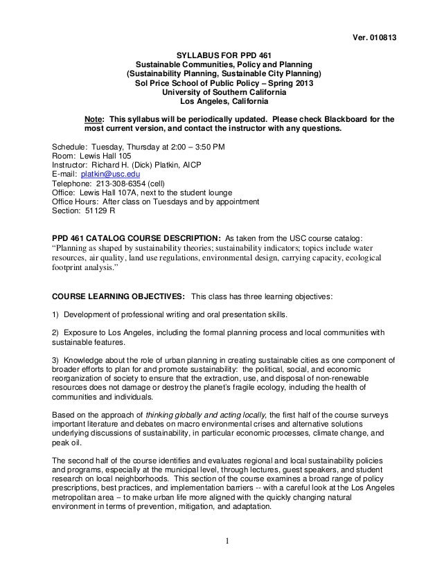Ver. 010813                                    SYLLABUS FOR PPD 461                        Sustainable Communities, Policy...