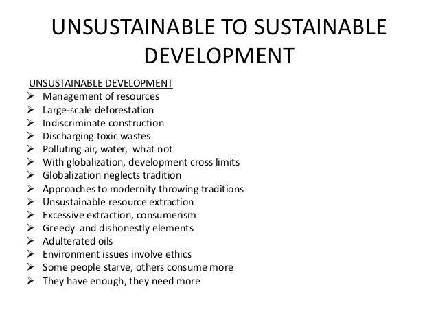 unsustainable to sustainable development