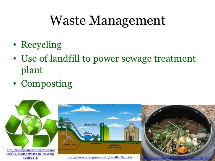 Waste Management    • Recycling    • Use of landfill to power sewage treatment      plant    • Compostinghttp://luckygroup...