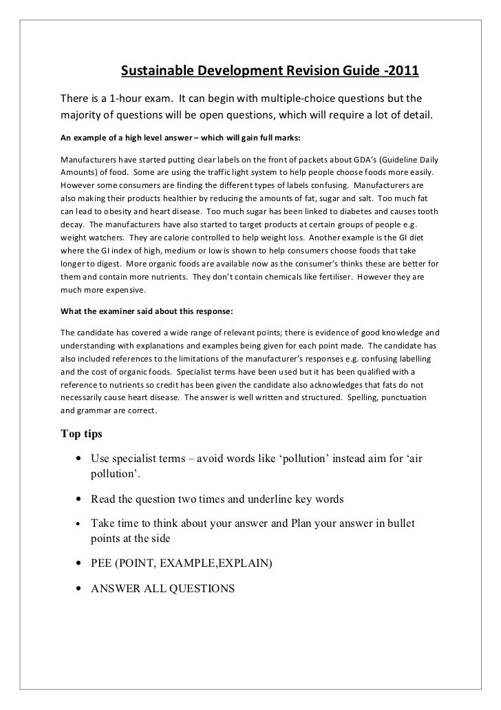 Sustainable Development Revision Guide -2011There is a 1-hour exam. It can begin with multiple-choice questions but themaj...