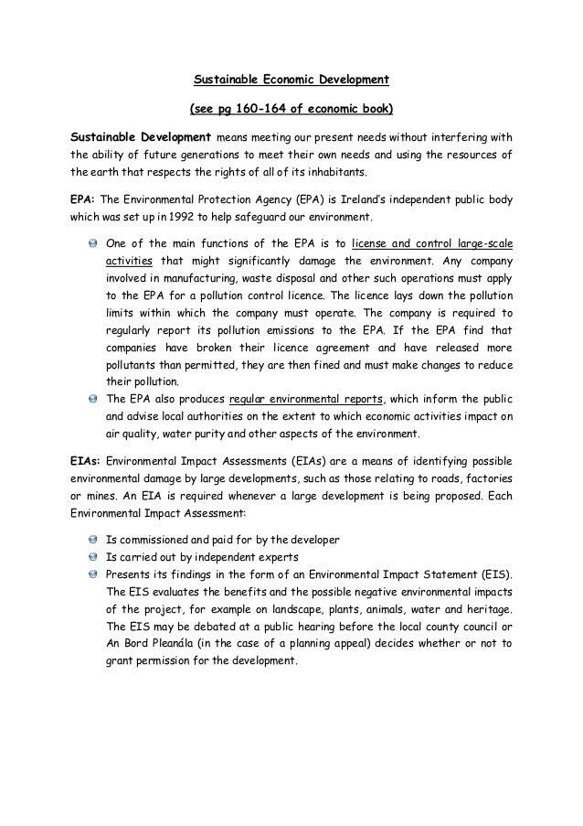 Sustainable Economic Development (see pg 160-164 of economic book) Sustainable Development means meeting our present needs...
