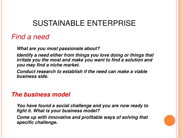 SUSTAINABLE ENTERPRISEFind a need What are you most passionate about? Identify a need either from things you love doing or...