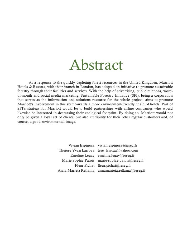 Abstract        As a response to the quickly depleting forest resources in the United Kingdom, MarriottHotels & Resorts, w...