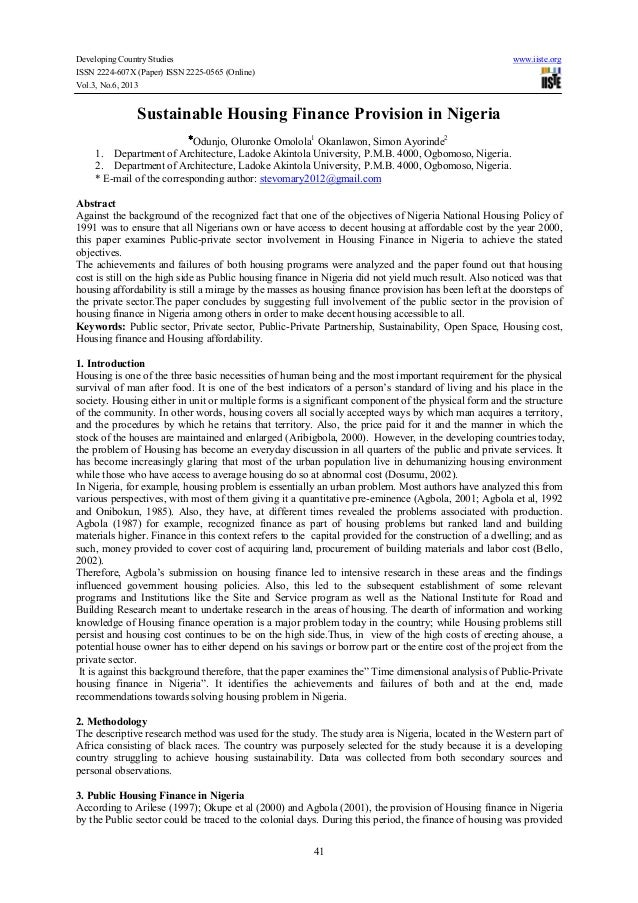 Developing Country Studies www.iiste.org ISSN 2224-607X (Paper) ISSN 2225-0565 (Online) Vol.3, No.6, 2013 41 Sustainable H...