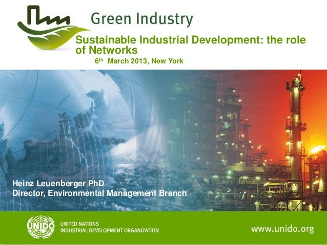 Sustainable Industrial Development: the role              of Networks                   6th March 2013, New YorkHeinz Leue...