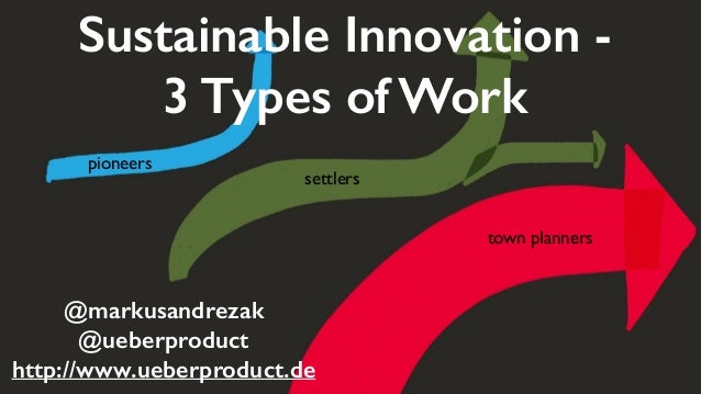 town planners settlers pioneers Sustainable Innovation - 3 Types of Work @markusandrezak @ueberproduct http://www.ueberpro...