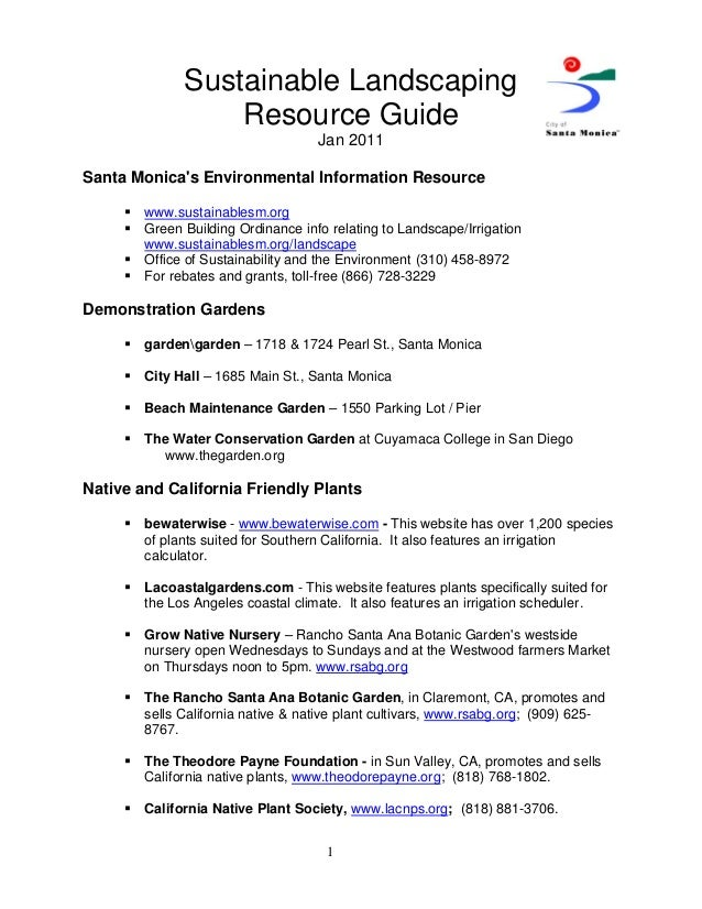 Sustainable Landscaping                   Resource Guide                                     Jan 2011Santa Monicas Environ...