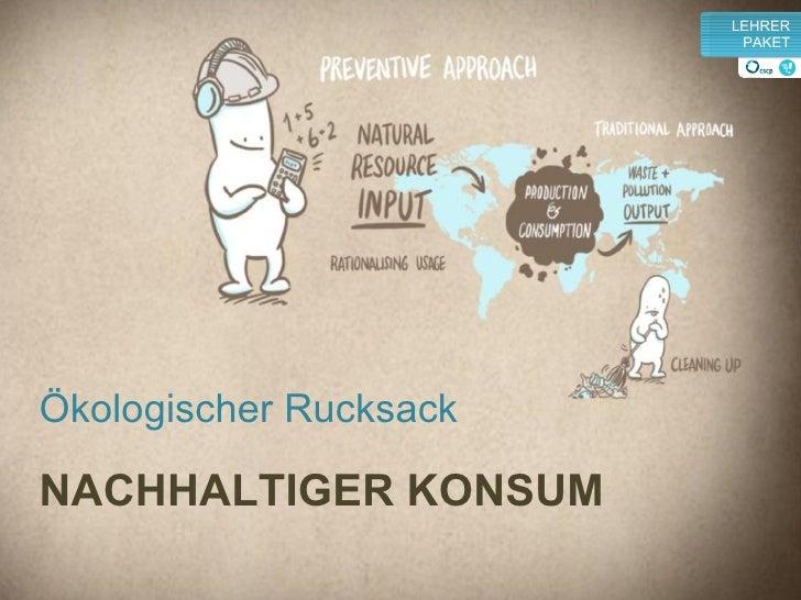 Ökologischer Rucksack NACHHALTIGER KONSUM v LEHRER PAKET