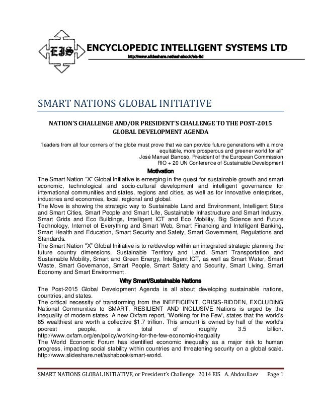 SMART NATIONS GLOBAL INITIATIVE, or President's Challenge 2014 EIS A. Abdoullaev Page 1 ENCYCLOPEDIC INTELLIGENT SYSTEMS L...
