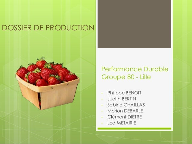Performance Durable  Groupe 80 - Lille  • Philippe BENOIT  • Judith BERTIN  • Sabine CHAILLAS  • Marion DEBARLE  • Clément...