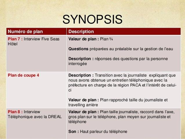 SYNOPSIS  Numéro de plan Description  Plan 7 : Interview Five Seas  Hôtel  Valeur de plan : Plan ¾  Questions préparées au...