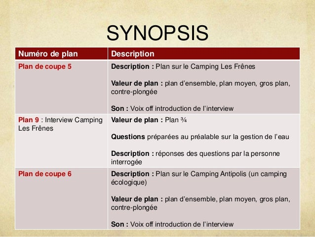 SYNOPSIS  Numéro de plan Description  Plan de coupe 5 Description : Plan sur le Camping Les Frênes  Valeur de plan : plan ...