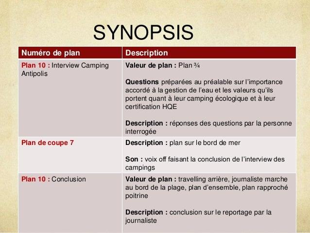 SYNOPSIS  Numéro de plan Description  Plan 10 : Interview Camping  Antipolis  Valeur de plan : Plan ¾  Questions préparées...