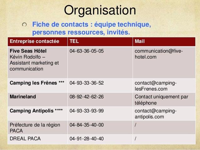 Organisation  Fiche de contacts : équipe technique,  personnes ressources, invités.  Entreprise contactée TEL Mail  Five S...