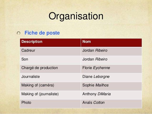 Organisation  Fiche de poste  Description Nom  Cadreur Jordan Ribeiro  Son Jordan Ribeiro  Chargé de production Florie Eyc...