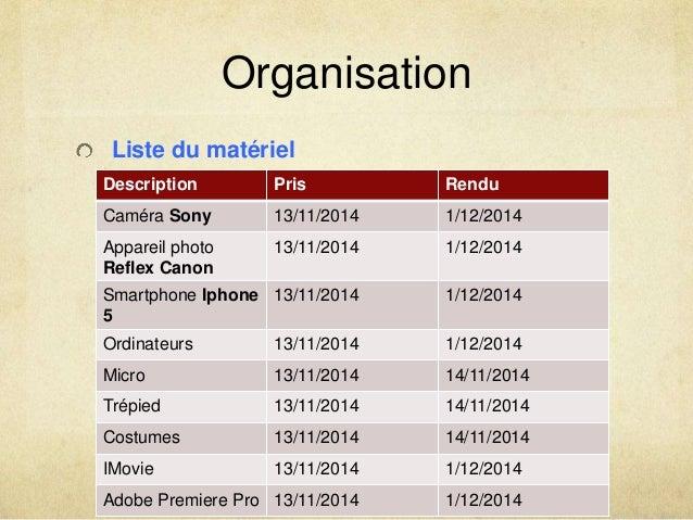 Organisation  Liste du matériel  Description Pris Rendu  Caméra Sony 13/11/2014 1/12/2014  Appareil photo  13/11/2014 1/12...