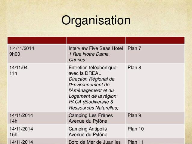 Organisation  1 4/11/2014  9h00  Interview Five Seas Hotel  1 Rue Notre Dame,  Cannes  Plan 7  14/11/04  11h  Entretien té...